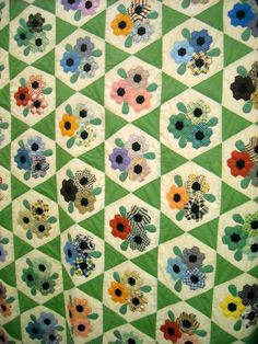 Garden Bouquet quilt, c.1930, Nancy Page design, done in Nile Green.  Paducah, KY; photo by Patchwork Pie