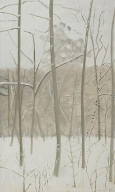 lois dodd - vertical winter woods in snowstorm