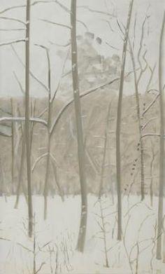 lois dodd - vertical winter woods in snowstorm