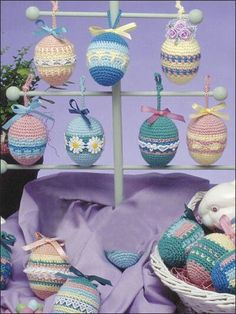 Crochet - Hang these seven pretty ornaments on their own special tree or throughout the house to celebrate the Easter season. Finished size: across. Made with fine (sport) weight yarn and size hook. Holiday Crochet, Crochet Home, Love Crochet, Easter Crochet Patterns, Diy Ostern, Crochet Decoration, Yarn Crafts, Easter Crafts, Beading Patterns