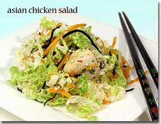 Asian Chicken Salad from World's Healthiest Foods. Nutritional Breakdown and healthy recipes. Healthy Diet Recipes, Healthy Foods To Eat, Healthy Cooking, Healthy Eating, Healthiest Foods, Healthy Salads, Meal Salads, Asian Chicken Salads, Asian Salads