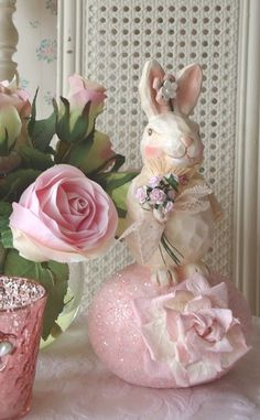 Easter Bunny on an Egg Shabby Pink Roses by IllusiveSwan on Etsy