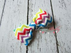 """Petite Rainbow Chevron Hair Bow Clip. Baby Girl by TheRogueBaby, $2.95  Can be made into """"bow tie"""" style for your little guy as well."""