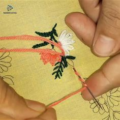 All over design for dress – Handwerk und Basteln Hand Embroidery Videos, Embroidery Stitches Tutorial, Embroidery Flowers Pattern, Creative Embroidery, Simple Embroidery, Learn Embroidery, Hand Embroidery Patterns, Crewel Embroidery, Embroidery Techniques