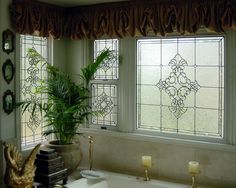 Leaded Bathroom Windows - Bevels and Privacy Glass