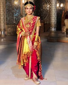 Anushka Sen in a bridal look in a nauvari saree, looks gorgeous in a designer blouse and jewelry Couple Wedding Dress, Wedding Dresses For Girls, Little Girl Dresses, Wedding Wear, Wedding Couples, Indian Bridal Outfits, Indian Bridal Fashion, Indian Designer Outfits, Marathi Bride