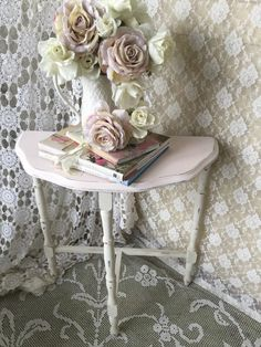 A personal favorite from my Etsy shop https://www.etsy.com/listing/289104459/shabby-demilune-table-side-table