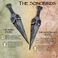 dnd ideas campaign [OC] The Songbirds: Homebrew Magical Daggers - DnD Dnd Dragons, Dungeons And Dragons 5e, Dungeons And Dragons Homebrew, Dungeons And Dragons Characters, Dnd Characters, Dark Fantasy, Dnd Stories, Horror Stories, Dungeon Master's Guide