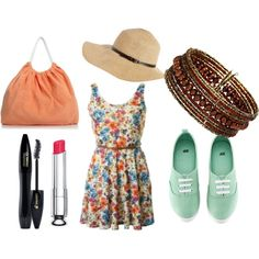 summer in the city 4, created by fayrosamya on Polyvore    floral dress, KEDS, sunhats, bangles