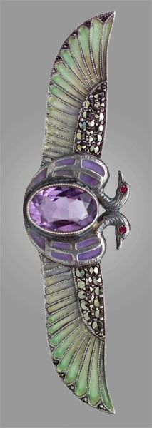EGYPTIAN REVIVAL Brooch Silver Plique-à-jour Amethyst Marcasite H: 1.8 cm (0.71 in) W: 11.7 cm (4.61 in) Marks: '935' & iindistinct marks on pin German, c.1925