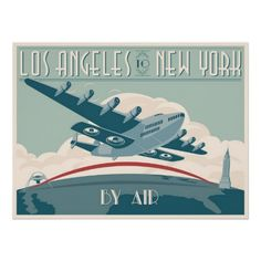 Los Angeles to New York by Air Posters #ARTSPROJEKT