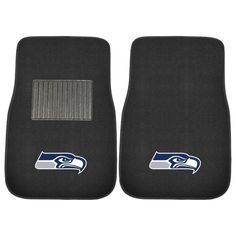 NFL Seattle Seahawks 2-Piece 17 in. x 25.5 in. Carpet Embroidered Car Mat, Black