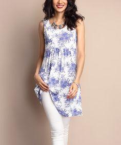 Look what I found on #zulily! White Floral Sleeveless Empire-Waist Tunic Dress #zulilyfinds