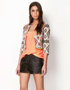 Bershka ethnic embroidery blazer