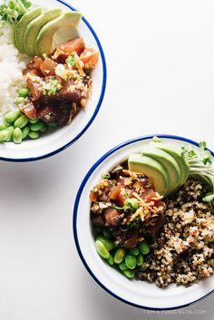 ahi tuna shoyu quinoa poke bowl - www.iamafoodblog.com
