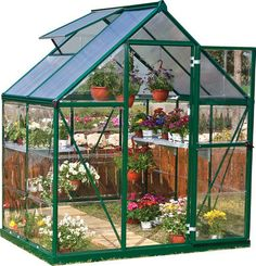 The Palram Nature Hybrid Series 6' x 4' Greenhouse is an ingenious balance of two advanced polycarbonate panels for the optimum environment. The crystal clear side panels offer over 90% transmission f