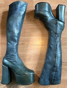 Vintage Barbara Hulanicki For Biba Leather Platform Boots Bowie Rare Size 5 Knee Boots, Heeled Boots, Barbara Hulanicki, Shoe Clips, Long Boots, 5 Inch Heels, Platform Boots, Vintage Shoes, Gq