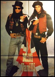 "Giant Milli Vanilli poster of German youth magazine ""Popcorn"" with Robert Pilatus and Fabrice Morvan"