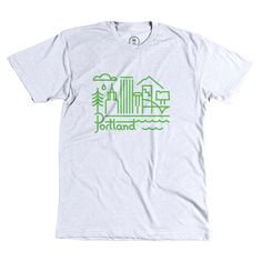 """Rose City"" designed by Chris Streger. The beautiful Portland skyline done in thick green lines. Only 2 weeks to order! https://cottonbureau.com/products/rose-city"