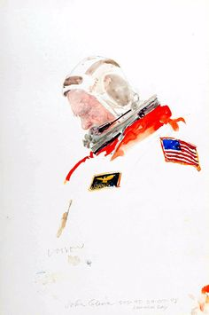 John Glenn, STS-95, 29 Oct. 98, Launch Day, Henry Casselli, 1998, Watercolor on toned paper.