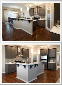 By Trico Homes- dark cabinets with mosaic backsplash!