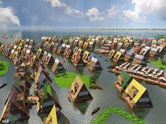 Pueblo de casas flotantes