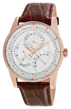 Kenneth Cole New York Asymmetrical Multifunction Leather Strap Watch, 44mm available at #Nordstrom
