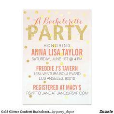 Gold Glitter Confetti Bachelorette Party