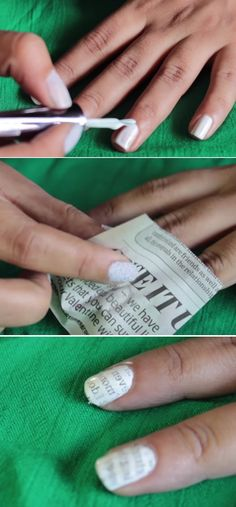 Super Easy Nail Art Ideas for Beginners - Easy to do Newspaper Print Nail Art Tutorial - Simple Step By Step DIY Tutorials And Pictures For Nailart. Ideas For Every Style, All Hair Colors, Sparkle, Valentines, And other Awesome Products To Make It DIY and Super Easy - https://thegoddess.com/nail-art-ideas-beginners