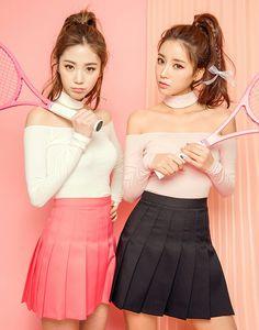 Buy chuu T-Back Scoopneck Top Korean Fashion Trends, Korea Fashion, Asian Fashion, Girl Fashion, Fashion Outfits, Japanese Fashion, Japanese Girl, Pleated Mini Skirt, Mini Skirts