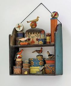 Part of an amazing Folk Art Collection! Miniature wallpaper boxes, sewing balls and various birds. This shelf has beautiful lines as well. Primitive Folk Art, Painted Boxes, Arte Popular, Tole Painting, Outsider Art, Displaying Collections, Painted Furniture, Projects To Try, Shabby