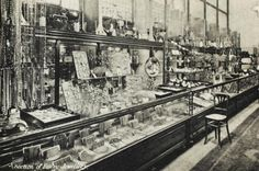 The jewelry sections of Selfridges department store, Oxford Street, London, England 1909.