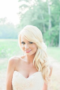 Down hair option. Emily Maynard's stunning wedding day hair: http://www.stylemepretty.com/2014/09/22/emily-maynards-surprise-wedding-to-tyler-johnson/ | Photography: Corbin Gurkin - http://corbingurkin.com/