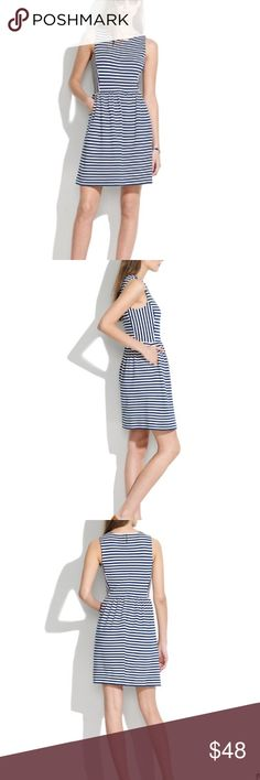 MADEWELL  Afternoon Dress Like New!! Size XS navy stripes with Zip in back. Beautifully crafted in textural knit cotton, this easy striped A-line dress is flattering and appropriate for any occasion, from work to weddings. Madewell Dresses