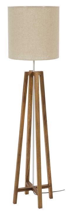Ø40/40cm Shade - Linen Rich + Cross Floor Lamp Natural