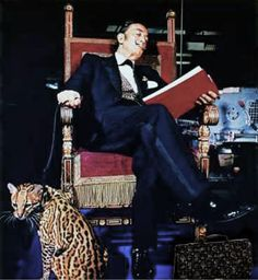Salvador Dali and pet Ocelot