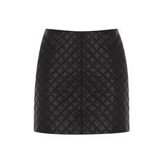 Quilted Leather Skirt (2,315 MXN) ❤ liked on Polyvore featuring skirts, mini skirts, faldas, leather, metallic mini skirt, reversible skirt, zipper skirt, short skirts and zipper mini skirt