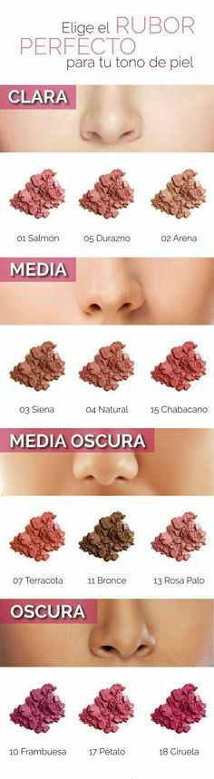 Guía rápida para escoger el rubor perfecto para tu tono de piel. #Maquillaje…