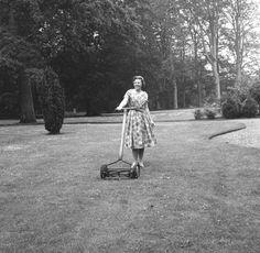 Lage Vuursche - Kasteel Drakenstein, Prinses Beatrix grasmaaiend! 26-03-1963 Dutch Royalty, Royal Families, Funny Photos, Netherlands, Holland, Orange, History, House, Vintage