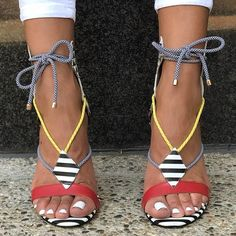 93ff8b6890b254 These strappy sandals - heels - scream summer! And nautical