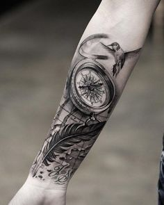 Compass and feather forearm tattoo - 100 Awesome Compass Tattoo Designs <3 <3