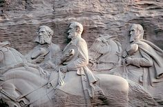 Carving on Stone Mountain. Stonewall Jackson, Jefferson Davis, and Robert E. Lee