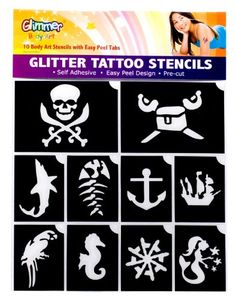 Pirates and Mermaid Glitter Tattoo Stencil Set Party Accessory $5.13 #bestseller