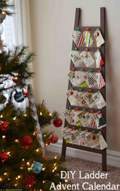 Diy ladder advent calendar. Would be a cute card display idea too, or a blanket holder in the meantime til Dec 1st start the advent.