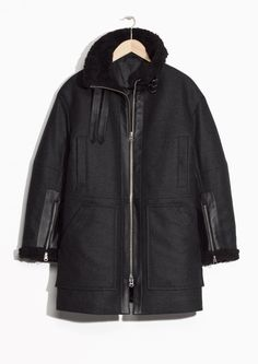& Other Stories image 1 of Structured Wool Winter Coat in Dark Grey
