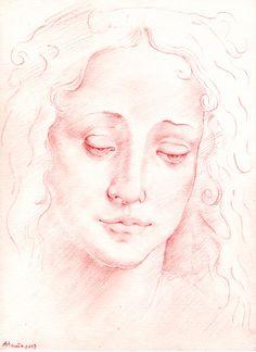 Rostro femenino en Sanguina según Da Vinci