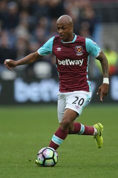 Andre Ayew of West Ham United in action during the Premier League match between West Ham United and Leicester City at London Stadium on March 18, 2017 in Stratford, England.