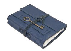 Navy Blue Leather Journal with Heart Key Bookmark - Ready to Ship by boundbyhand on Etsy