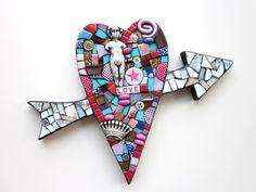 heart with arrow. mixed media art mosaic art stained glass contemporary art modern art