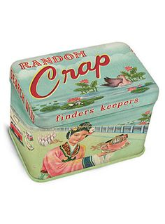 Random Crap Mini Treasure Tin by Blue Q, Blue. This is what everyone's getting for Christmas this year.